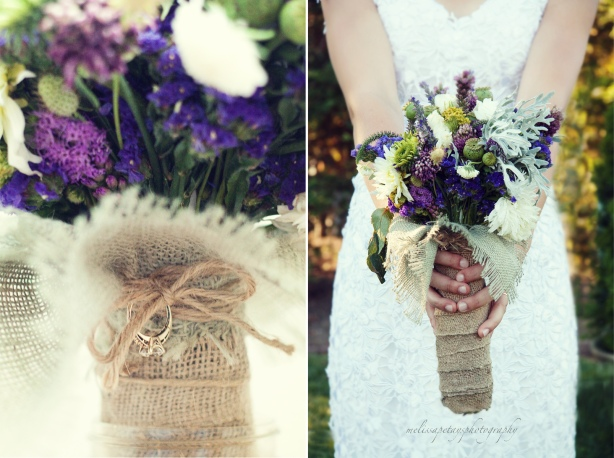 'wedding bouquet wrapped in burlap'