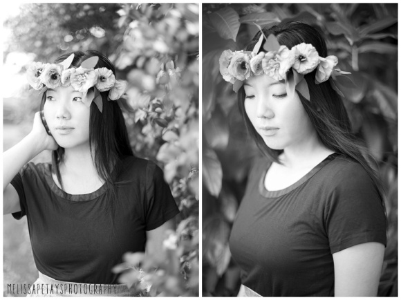 """""""b/w flower crown picture"""""""
